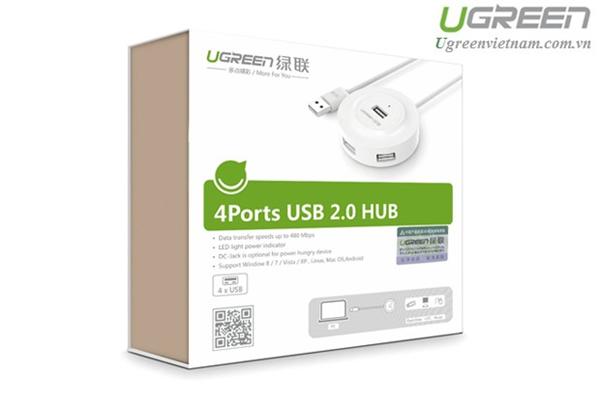 Bộ chia 4 cổng USB 2.0 Ugreen 20270 màu trắng